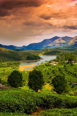 beautiful landscape the mountain and the river in India Kerala photo