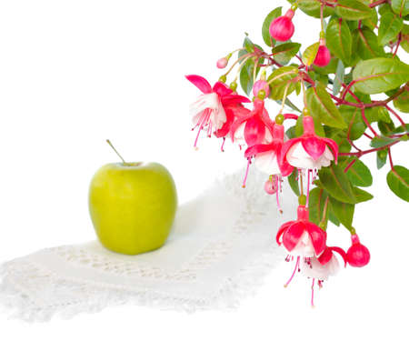 fuchsias: still life with apple on a napkin and a branch of fuchsias Stock Photo