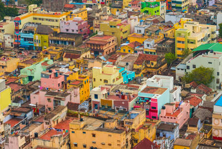 Colorful homes  Indian city Trichy, Tamil Nadu photo