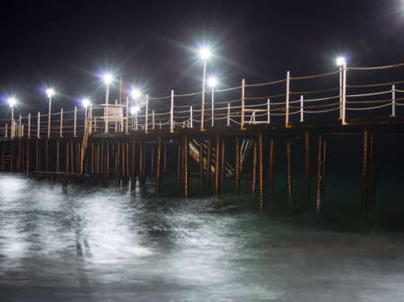 lamps on a pier at night, background photo