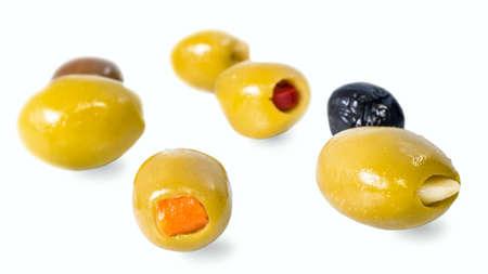 de gevulde olijven peper, een sinaasappelhuid Stockfoto