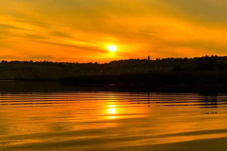 the volga river: solar a path in the river Volga