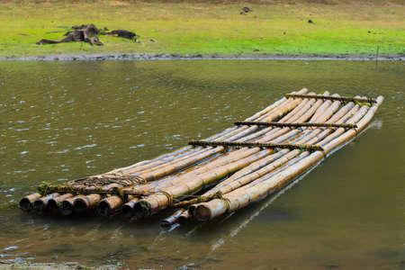 bamboo raft on  the coast river, India