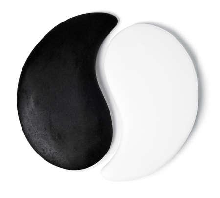 yin y yang: Yin-Yang símbolo de la textura de piedra, el signo de los dos elementos está aislado en el fondo blanco