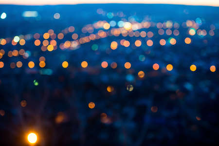 city lights: city lights in the evening with blurring background