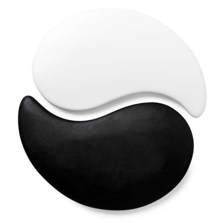 karma concept: symbol Yin-Yang of stone texture, the sign of the two elements is isolated on white background  Stock Photo