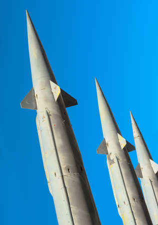 Antiaircraft rockets of a surface-to-air missile system are aimed at the sky, closeup  photo