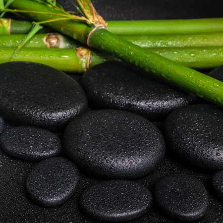 spa concept of zen basalt stones and natural bamboo with drops, closeup  photo