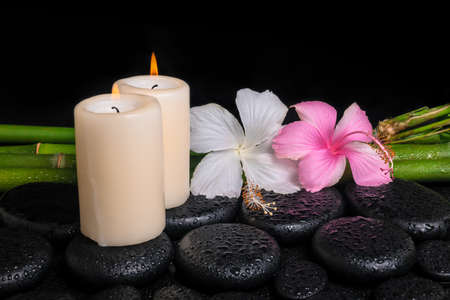 spa concept of zen basalt stones, white and pink hibiscus flower, candles on natural bamboo with drops,  photo