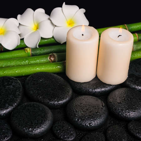 spa concept of zen basalt stones, three white flower frangipani, candles and natural bamboo with dew, closeup  photo