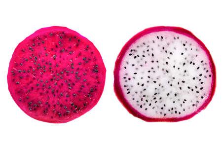 snijdt rode en witte dragonfruit, Pitaya is de plant in Cactaceae familie of Cactus is geïsoleerd op witte achtergrond