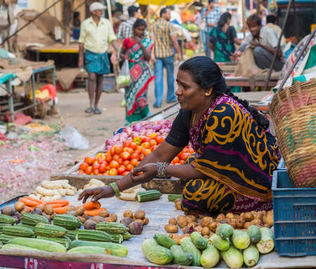 adherents: CHENNAI, INDIA - FEBRUARY 10: An unidentified  the woman sells vegetables on February 10, 2013 in Chennai, India. Fresh vegetables is traditional food  of Hinduisms adherents.