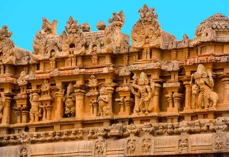 fragment of bas-relief Hindu Brihadishvara Temple, India, Tamil Nadu, Thanjavour, closeup Stock Photo