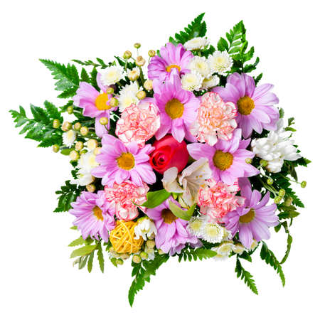 birthday bouquet: bouquet of flowers is isolated on white background, closeup Stock Photo