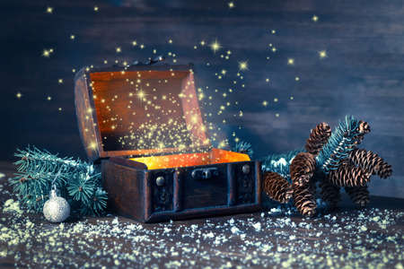 Christmas winter fairy with miracle in opened chest. Background of mystery gift New Year, fir tree and snow. Instagram style Stockfoto