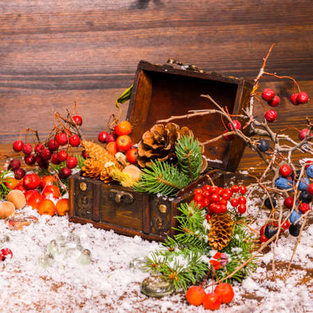ice chest: Christmas winter still life with opened full chest, apple, nuts, cones, berries, fir tree and snow, closeup Stock Photo