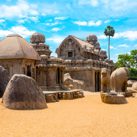 ancient Hindu monolithic Indian rock-cut architecture Pancha Rathas - Five Rathas, Mahabalipuram, Tamil Nadu, South India