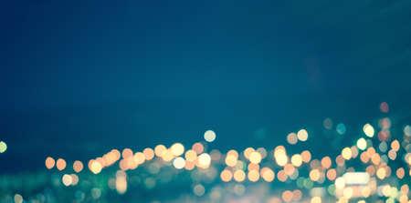 astratto blu circolare naturale sfondo bokeh, luci della città con orizzonte, arte tonificante, panorama