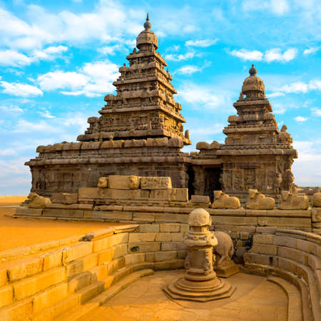 mamallapuram: monolithic famous Shore Temple near Mahabalipuram Stock Photo