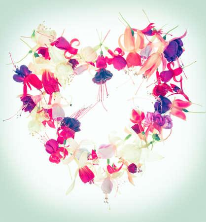 flores fucsia: bouquet of Valentine heart design colorful fuchsia flowers toned style, close up Foto de archivo