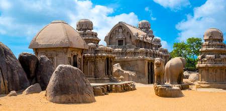 ancient Hindu monolithic Indian rock-cut architecture Pancha Rathas - Five Rathas, Mahabalipuram, Tamil Nadu, South India, panorama