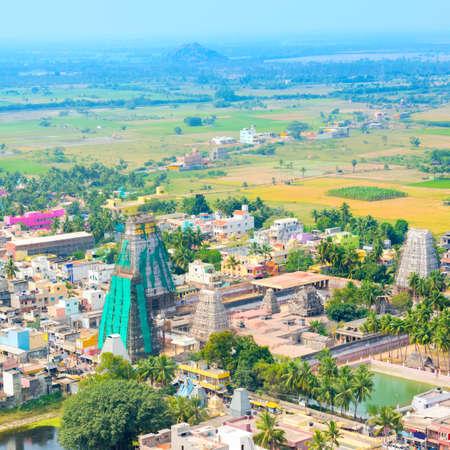 pallava: top view renovation of Lord Bhakthavatsaleswarar Temple Gopura (tower) with temple tank. Pallava`s dynasty. Thirukalukundram (Thirukkazhukundram), near Chengalpet. Tamil Nadu