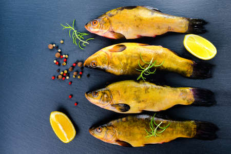 tench: top view of fresh tench fish with aromatic herbs, spices and vegetables on slate background, close up Stock Photo