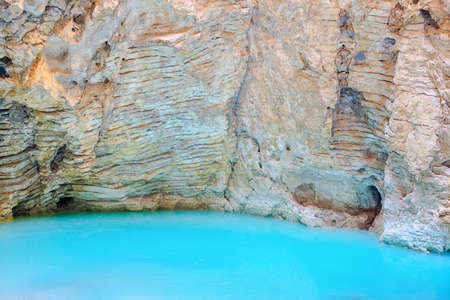 seltzer: beautiful natural underground karst mineral lake Proval with pure blue water of Mashuk mountain in Pyatigorsk, Northern Caucasus, Russia