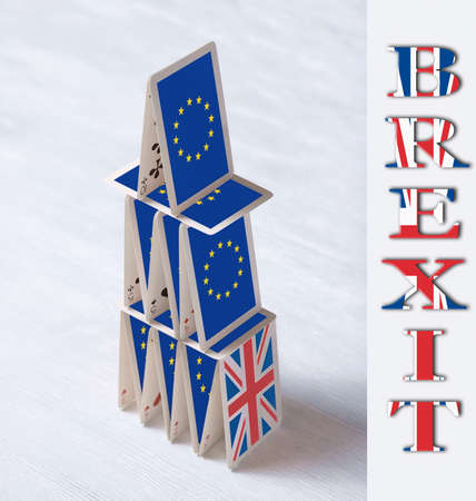 collage on event June 23 Brexit UK EU referendum concept: will the house of cards stand when United Kingdom leave European Union or it should remain member of EU