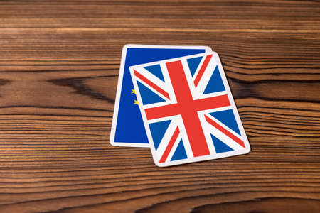 wins: collage on event June 23: Brexit UK EU referendum who wins the game concept, close up Stock Photo