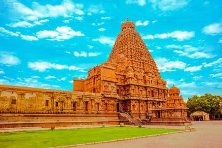 fantastic art design of view at tower Hindu Brihadishvara Temple, India, Tamil Nadu, Thanjavour,  (Trichy), panorama Stock Photo