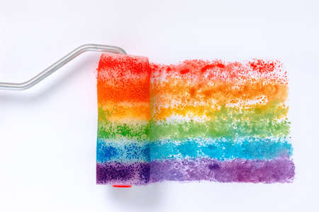 fetishes: top view of concept gay culture symbol with paint roller, sign gay LGBT community, close up Stock Photo