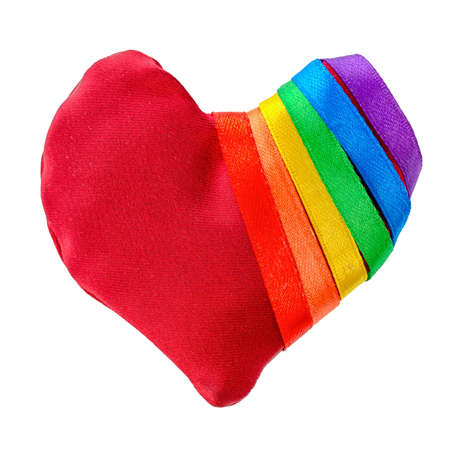 fetishes: concept gay culture symbol with manually stitched red heart shape tied with ribbon flag, sign LGBT community is isolated on white background, close up