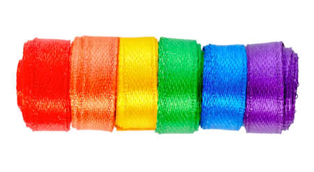 concept gay culture symbol with ribbons roll, sign gay LGBT community is isolated on white background, close up