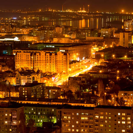 volga river: nightlife Russia, the evening city of Saratov with Volga River Stock Photo