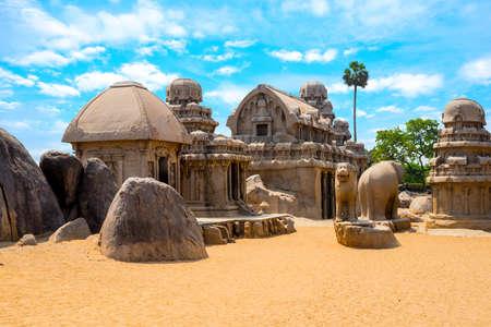 pallava: ancient Hindu monolithic Indian rock-cut architecture Pancha Rathas - Five Rathas, Mahabalipuram, Tamil Nadu, South India Stock Photo