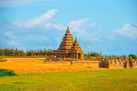 pallava: beautiful landscape of ancient monolithic famous Shore Temple near Mahabalipuram