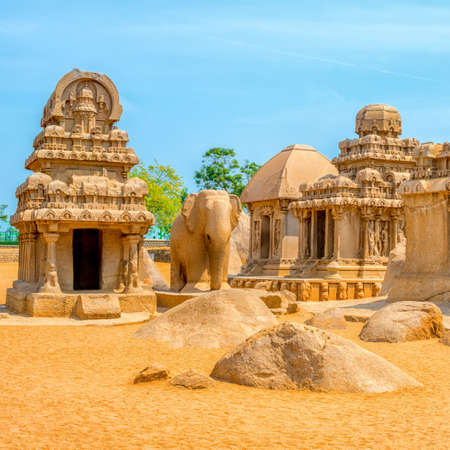monolithic: ancient Hindu monolithic Indian sculptures rock-cut architecture Pancha Rathas - Five Rathas, Mahabalipuram, Tamil Nadu, South India