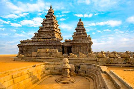 monolithic famous Shore Temple near Mahabalipuram Stock Photo