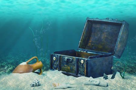 submerging: beautiful collage of closed old wooden treasure chest submerged underwater world with anchor, amphora and light rays, close up