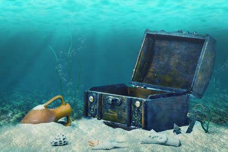 mooie collage van gesloten oude houten schatkist ondergedompeld onderwater wereld met anker, amfora en lichtstralen, close-up