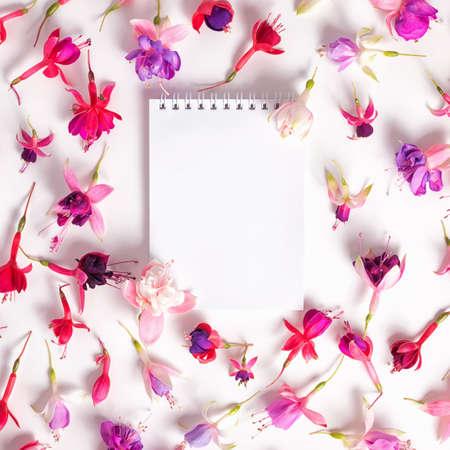 flores fucsia: en plano de cabezas híbridas de colores fucsia y flores cuaderno vacío en el fondo blanco, de cerca Foto de archivo