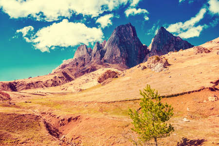 beautiful landscape of deserted mountains with blue sky, Russia, Republic Ingushetia, instagram filter