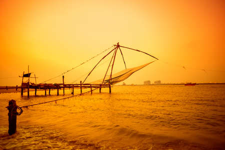 Beautiful sunset scene of Kochi chinese fishnets, Kerala. Fort Kochin, Kochi, Kerala, south India