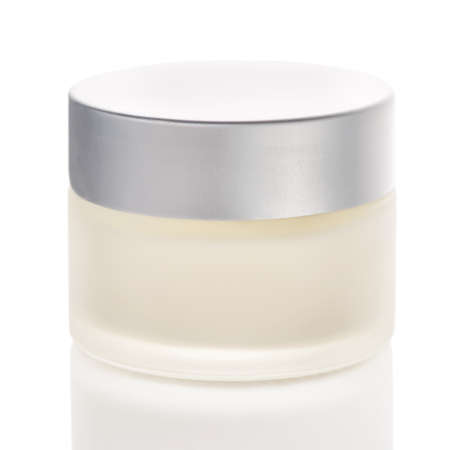 jar of cream, mockup hand, facial or body cream cosmetic bottles isolated over white