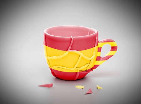 utensilios de cocina: taza rota pegada, modelada con la bandera de España y la bandera de Cataluña, concepto de independencia