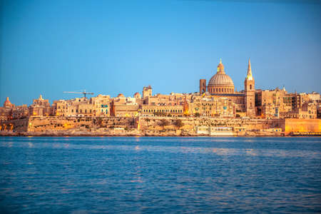 beautiful view of Basilica Our Lady Mount Carmel in Valletta from Sliema, Malta Stock Photo