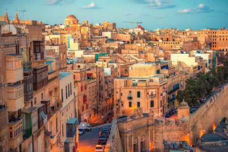 beautiful european city Valletta with balconies and narrow streets, Malta Stock Photo