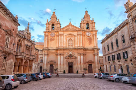 beautiful european landscape with catholic St. Peter & Paul Cathedral, Mdina, Malta