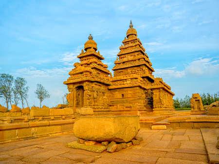 Beautiful ancient monolithic famous Shore Temple near Mahabalipura in Tamil Nadu, India